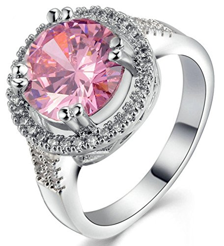 SaySure 18K White Gold Plated Pink Diamond