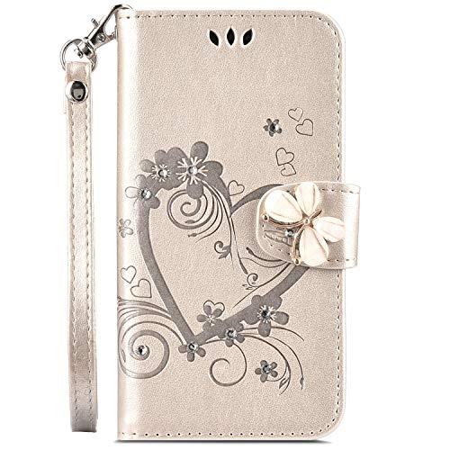 Phezen, custodia a portafoglio per Galaxy J3/J3 V, Galaxy Sky/Galaxy Sol,  in pelle PU, con strass e cuore in rilievo, per carte di credito e contanti