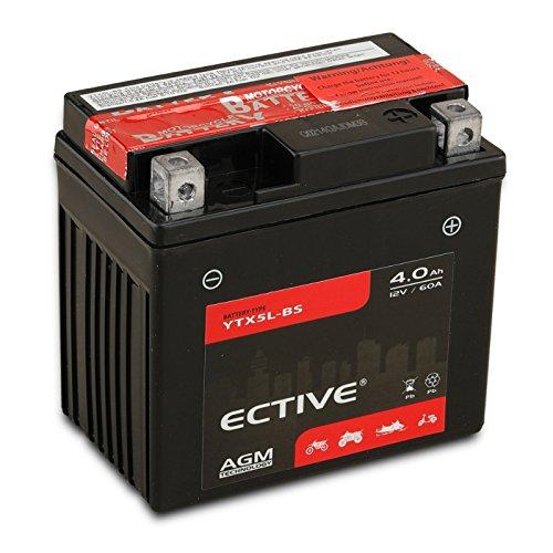 ECTIVE 12V 4Ah AGM Motorradbatterie YTX5L-BS : 4Ah - 18Ah inkl. Säurepack (Absolut wartungsfrei)