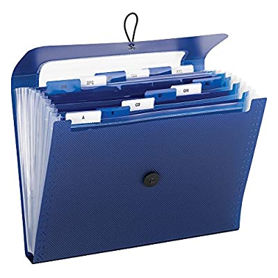 Step Index Organizer, 12-Pocket, Letter, Poly, Navy, Sold as 1 Each