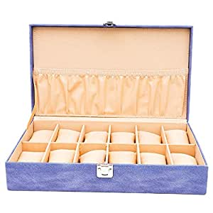 LEDO Watch Box / Watch Case For Men And Women With 12 Slots of Watches in Blue Color