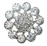 34mm Round Fashion Brooch Broach Pin Badge Crystal Diamante Wedding Bridal
