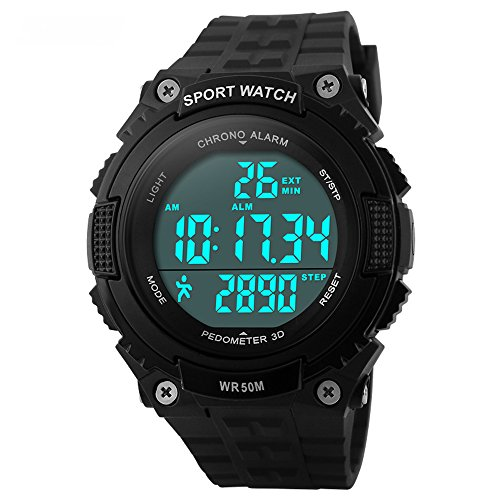 Bozlun Herren Digitaluhr mit Schrittzähler Stoppuhr Wasserdichter LED Display Militär Armbanduhr
