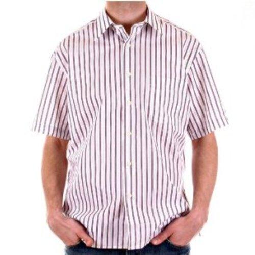 BURBERRY Kurzarmhemd, Bedruckt, Pflaume und Grau Gr. L, weiß/grau