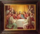 Das letzte Abendmahl gerahmt Druck Holz Rahmen Bild Mahagoni-Finish mit Doppel Herz Brosche pin25cm 30cm 8320LS