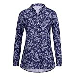 Damen Shirts Tees Tops Oberteile Oversize Pullover Sweatshirts Pulli Hoodie Elegant Hemden Langarm Blusen Tuniken, Plus Size Print V-Ausschnitt Knopf(M,Marine2)