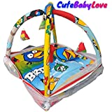 CuteBabyLove Baby Play Gym/Baby Bedding Set With Mosquito Net / Baby Bedding For New Born (Angry Bird Blue)