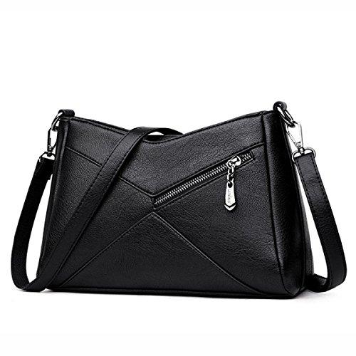 Solid Color Nieten (Frauen PU Ledernaht Handtaschen Schulter Umhängetasche Mode Einfache Solid Color Damen Tasche,Black-OneSize)