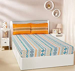 Amazon Brand - Solimo Fuzzy Strings 144 TC 100% Cotton Double Bedsheet with 2 Pillow Covers, Orange