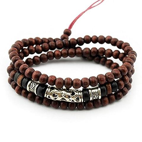 Plus de Fun Charm Perles de bois multicouche Bracelet en alliage de manchette Tube réglable Bracelet de perles