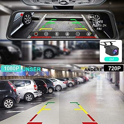 AWESAFE-Dashcam-Rckspiegel-10-Full-HD-Touchscreen-1080P-Frontkamera-und-1080P-Wasserdichte-Rckfahrkamera-Streaming-Autokamera