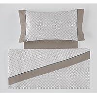 ES-TELA - Juego de sábanas estampadas DANI color Gris (4 piezas) - Cama de 150 cm. - 50% Algodón/50% Poliéster - 144 Hilos