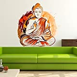 StickMe 'Meditating Buddha Wall Sticker'- SM 084 ( PVC Vinyl - 100cm X 110 Cm )