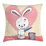 Rabbit Throw Pillow Cushion Cover, Cute and Shy Bunny Painting a Pink Heart on The Wall Heart Shaped Eyes and Ears, Decorative Square Accent Pillow Case, 18 X 18 inches, Multicolor