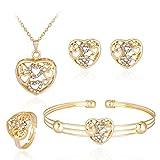 Mingfa Set aus Halskette mit Anhänger, Armband, Ohrringen, Strasssteine, für Damen, Mädchen, Geschenk für Hochzeit, Braut modisch J