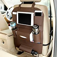 Car Seat Organiser, CiaraQ Multifunctional Waterproof Car Back Seat Organizer Carry iPad, Phone, Cup, Umbrella, Tissue / Seat Cover with 6 Pockets for Kids (Brown)