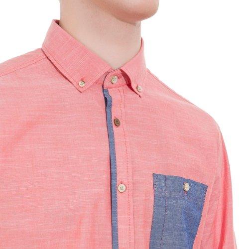 Springfield - Chemise à manches longues en tissu de coton avec texture - Homme Corail