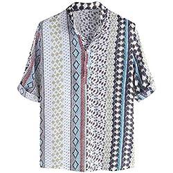 XuanhaFU Camiseta Hombre de Verano,de Camisa de Manga étnica Estampada (Azul Claro,L)