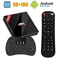 TV Box Android 7.1-EstgoSZ 3GB+16GB Amlogic S912 Octa-Core 64Bits Smart TV Box 4K/ H.265/ BT 4.1/WiFi 2.4GHz/5.0GHz/LAN 1000M con Wireless Mini Tastiera