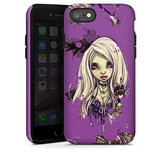 Apple iPhone X Silikon Hülle Case Schutzhülle Comic Girl Mädchen Tough Case glänzend