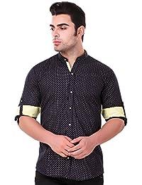 Lafantar Men's Mandarin Collar Slim Fit Casual Printed Shirt (vxt38,Blue)