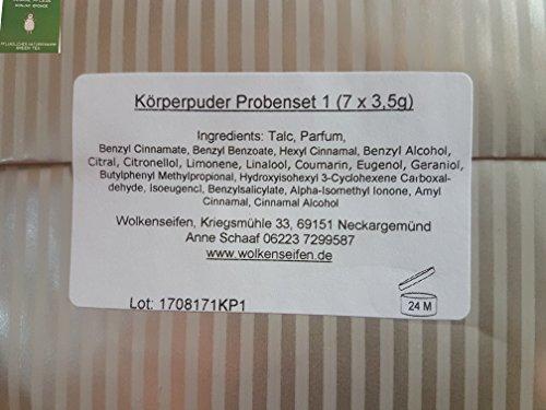 Wolkenseifen® Konjac Sponge Grüner Tee + Körperpuder 7 verschiedene Proben á ca. 3 g. (verschiedene Düfte) Set1 -