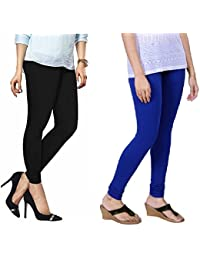 Lux Lyra Women's Pack Of 2 Churidar Leggings-Royal Blue & Black