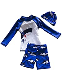Bebé Niño Trajes De Baño 3 Piezas Tiburones Bañadores Con Sombrero Azul 2XL