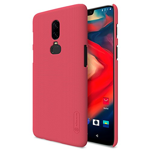 Nillkin Custodia OnePlus 6 Cover, Frosted Shield Series [Con pellicola protettiva] Ultra Slim Thin PC Materiale Cassa dura protettiva Back Cover per OnePlus 6 (Rosso)