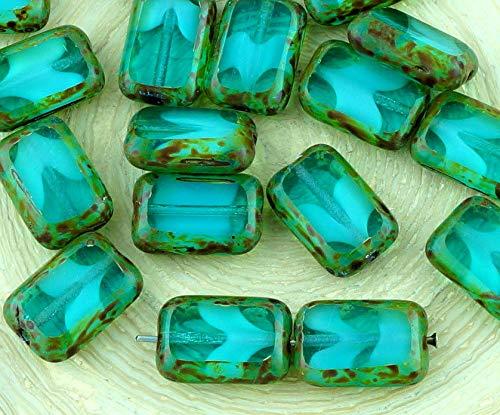 8pcs Picasso Brun Cristal Turquoise Aqua Bleu pierre de Lune clair de Lune d'Opale Table de Découpe à Plat Rectangle de Verre tchèque Perles de 8mm x 12mm
