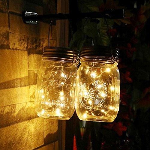 Lichter String Neuheit (Zhen+ Mason Jar Licht Solar LED Glas leuchte Hängeleuchte, Sonnenglas, Einmachglas mit integriertem Solarpanel und LEDs zur Beleuchtung, Solar Outdoor Lichterkette String Laterne Dekoration für Zuhause Party Garten Hochzeit (Warmweiß, 2M))