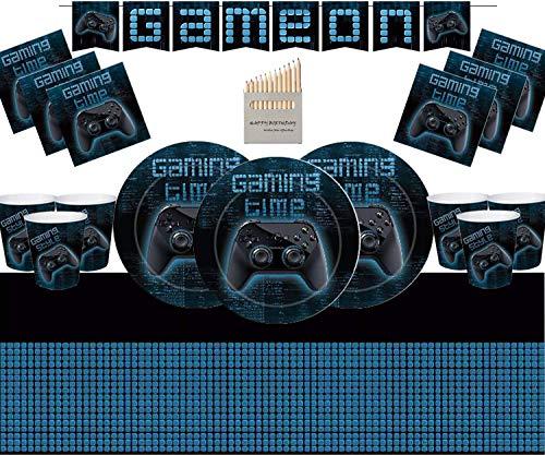El Juego Gaming Pary Supplies Decorations Incluye Platos Grandes de Papel, Tazas,...