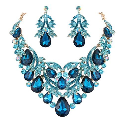 Clearine Damen Böhmisch Boho Tropfen Filigran Blatt Aushöhlen Statement Halskette Dangle Ohrringe Set Türkis Farbe Gold-Ton