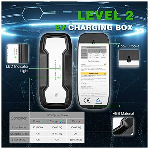 6m Morec EV Chargeur Portable commutable c/âble Chargement Box 10//16 A Type 2 Schuko 2 Broches Chargeur de Voiture /électrique Evse 2.2//3.6kw Euro Plug