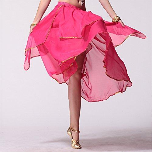 Damen Tanzkleidung r Long Bauchtanz Rock Tribal Multi-layered Rock Tanzen Kost¨¹me Dark Pink