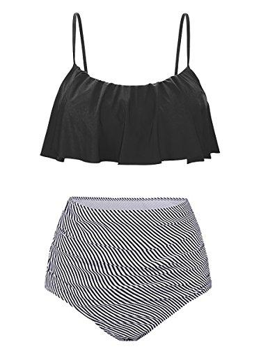 Summer Mae Donna Costumi da Bagno a Alta Vita Bikini con Balza Nero L (IT 42-44)
