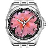 Personalisierte Herrenuhr Mode wasserdicht Uhr Armbanduhr Diamant 732. Hellrosa Gemeinsame Gartenblume