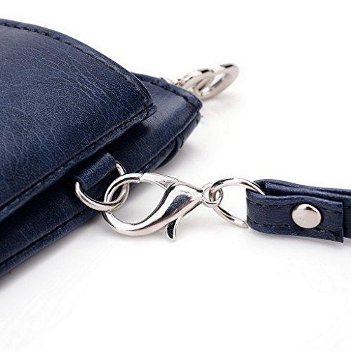 Kroo Pochette Portefeuille en Cuir de Femme avec Bracelet pour OnePlus One noir - Noir/gris Bleu - Blue and Red