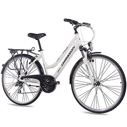 "CHRISSON 28"" Zoll Luxus ALU City Bike TREKKINGRAD DAMENFAHRRAD INTOURI Lady mit 24G Shimano Weiss matt"