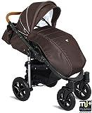My Junior+® Miyo Kombikinderwagen Komplettset bis zum 4.Lebensjahr---3 Years Guarantee---+Autositz (11-Teile-Megaset) Premium Kinderwagen (Brown) -