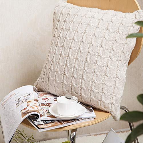 FL Bygo Gestrickte Baumwolle Einfarbig Kissenbezug Platz Sofa Warme Kissenbezug Gartenkissen Einfaches Zuhause (ohne Kissen),Beige