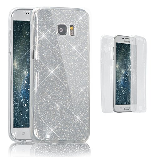 Vandot Samsung Galaxy S6 Coque de Protection Etui Transparent Antidérapant Pour Samsung Galaxy S6 Etui Protection Dorsale Étui Slim Invisible Housse Cover Case en TPU Gel Silicone Hull Shell-Blanc Paillette-Blanc