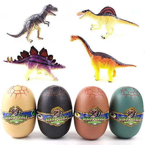 LanLan 4 Unids/Set 4D Ensamblaje de Huevos de Dinosaurio Modelado de Juguetes Deformados para Niños Apoyos Educativos Regalo de Reyes Magos