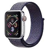 ANBEY für Apple Watch Armband 38mm 40mm 42mm 44mm, Geeignet für iWatch Apple Watch Serie 4, Serie 3, Serie 2, Serie 1, Nylon Sportschlaufenband Ersatzarmband Midnight Blue 42/44mm