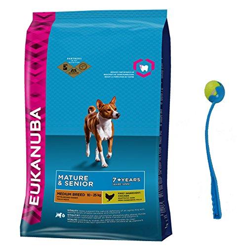 15 kg EUKANUBA Mature Senior Medium Hundefutter für ältere Hunde + Ballschleuder
