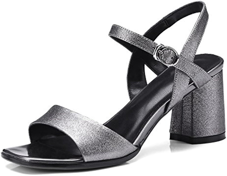 c3f5e9ec6a6af6 DKFJKI WoHommes 'andandals Chaussures pour Femmes Femmes Femmes en Cuir  Simple Boucle de Mode Talons Hauts Robes Chaussures de  FêteB07CTNKJ13Parent ...