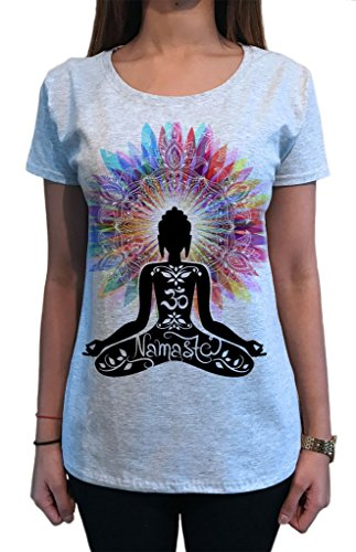 Camiseta de Mujer Namaste Buda Flores Color explosión Yoga Print TS1317