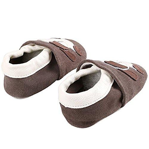 weiche Premium Leder Krabbelschuhe Lauflernschuhe Babyschuhe mit verschiedenen Motiven Braun Hund