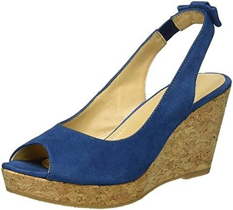 GARDENIA COPENHAGEN Damen Sandal Wedge Slingback, Blau (Suede Jeans), 39