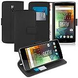 Orzly® - Multi-Functional Wallet Stand Case para OnePlus 2 (OnePlus TWO) SmartPhone / Teléfono Móvil (2015 Modelo) - FUNDA con PORTFOLIO + SOPORTE INTEGRADO y Tapa magnético - NEGRO